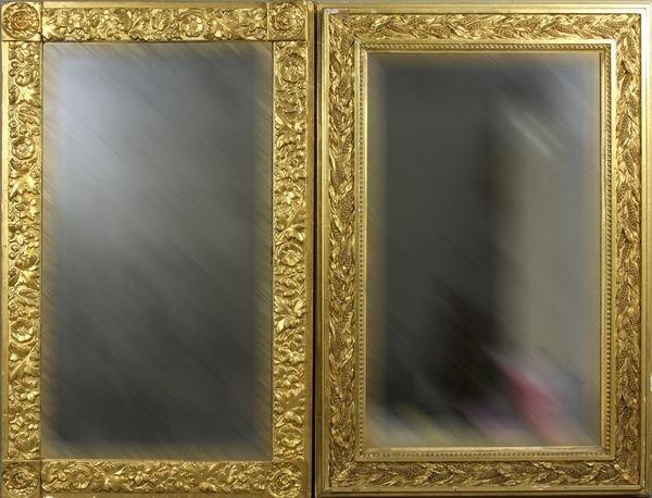 Pair of Mirrors in Gold Leaf Gessoed Frames