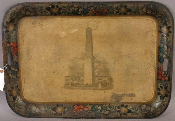 19TH CENTURY TOLE TRAY WITH BUNKER HILL MONUMENT