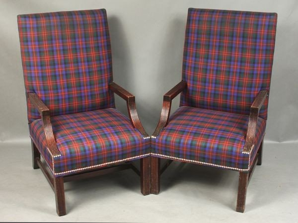 Pair of English-style Plaid Upholstered Chairs