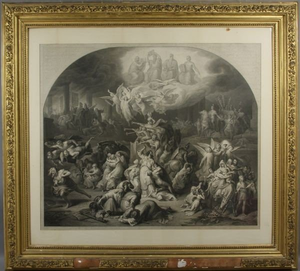 """19th C. Allegorical Lithograph """"Judgment Day"""""""