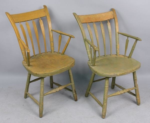 5004: Pr. of 19th C. Arrowback Windsor Chairs