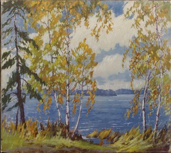 5023: Landscape Oil Print on Canvas, Signed