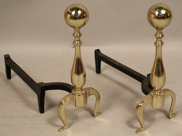 5002: PAIR OF MID 20th C. BALL-TOP BRASS ANDIRONS