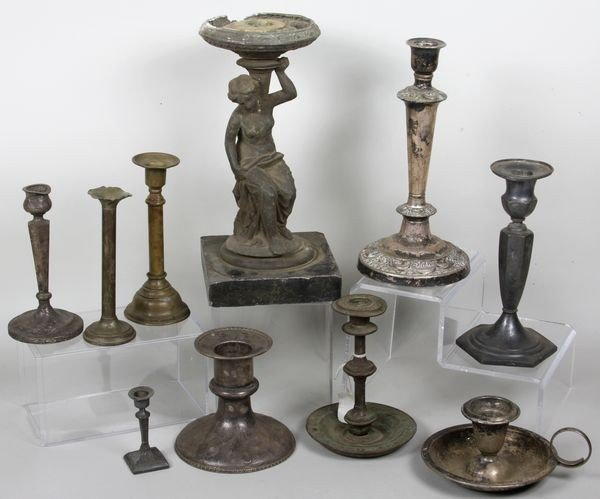 5008: Ten 19th/20th C. AMERICAN CANDLE STANDS
