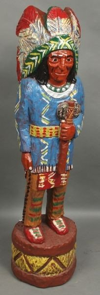 """5009: Carved Figure of an Indian Chief, 48""""h."""