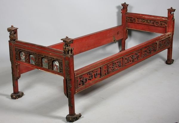 6005A: Carved and Gilt Wood Wedding Bed