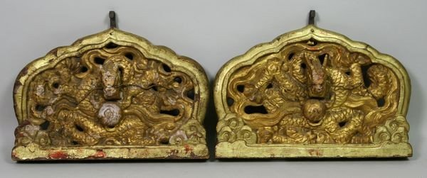 6006: Pair of Gilt Wood Wall Plaques