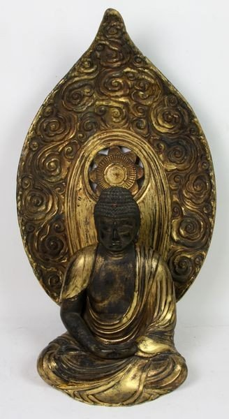 6011: Gilt and Lacquered Wooden Figure of Buddha