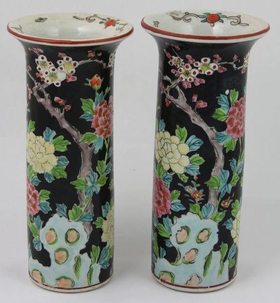 6019: Pair of Famille Noir Gu Vases,