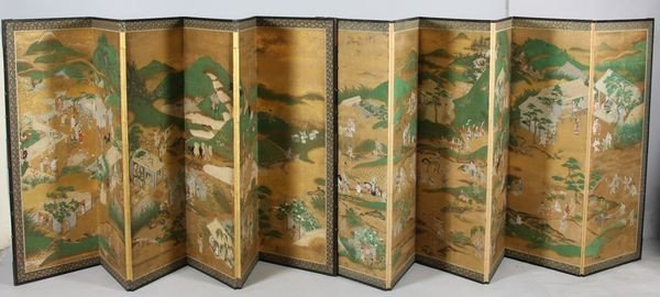 6022: Pair of Six-Panel Painted Screens
