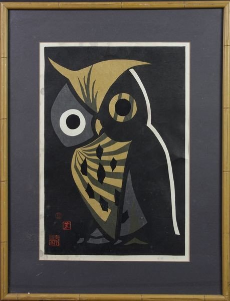 7011: Woodblock Print of an Owl