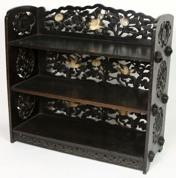 7012: Carved Ebony Table Shelf