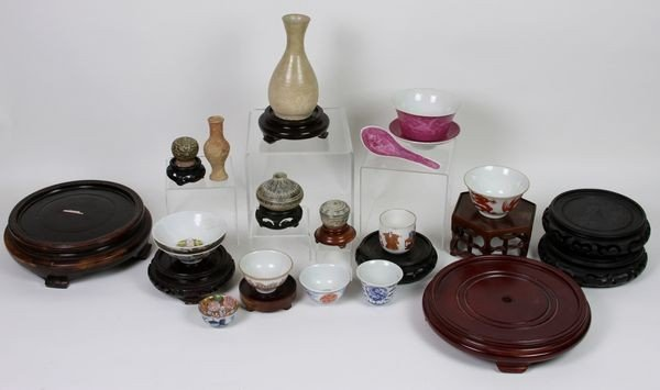 7016: Group of Assorted Tea Cups, Bowls, and Wooden Bas