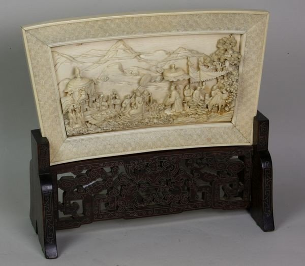 7205: Hand-Carved Ivory Plaque