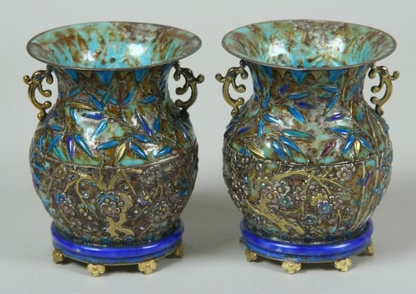 7212: Silver Enameled Two-Piece Vases