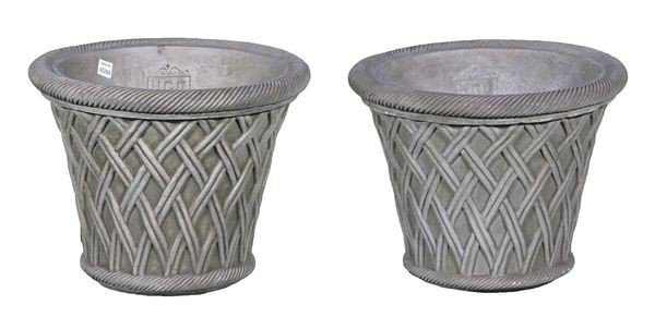 8004: Pair of English Cast Stone Basket Planters