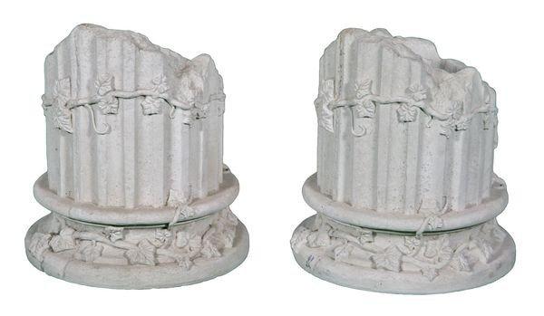 8007: Pair of Cast Stone Column Planters
