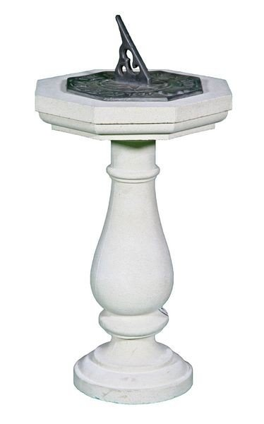 8009: Dry Cast Limestone Pedestal with Sundial