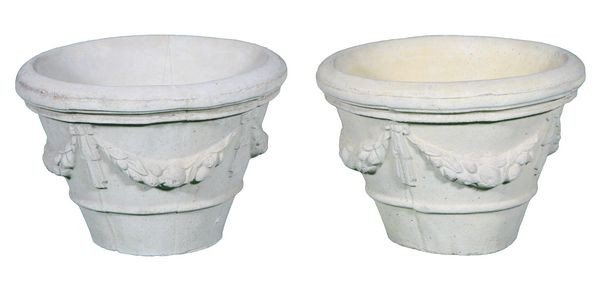 8014: Two (2) Cast Stone Planters