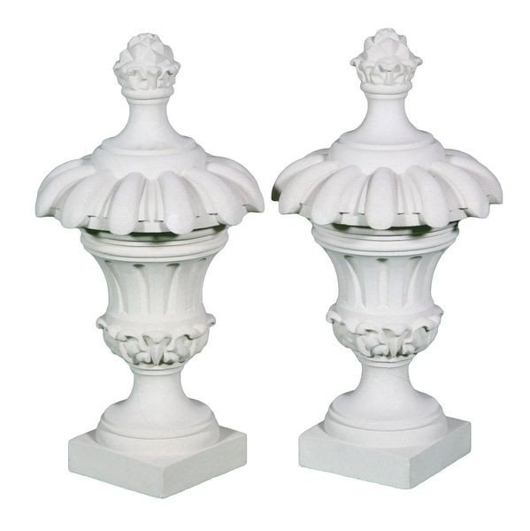 8015: Pair of Dry Cast Limestone Vine House Finials