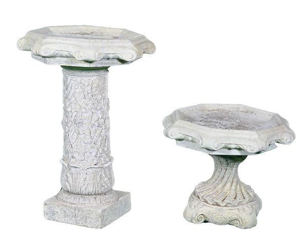8018: Two (2) English Cast Stone Birdbaths