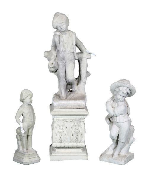 8023: Three (3) English Concrete Statues