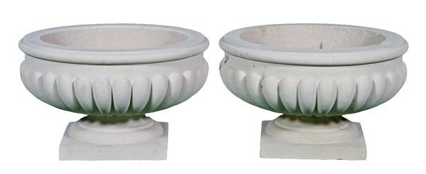 8046: Pair of Dry Cast Limestone Urns
