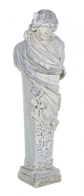 """English Dry Cast Figural Statue Of """"Winter"""""""