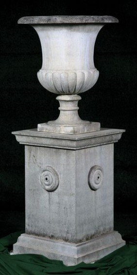 Tall English Dry Cast Limestone Urn And Pedestal