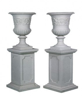 Pair Of Dry Cast Limestone Urns And Pedestals
