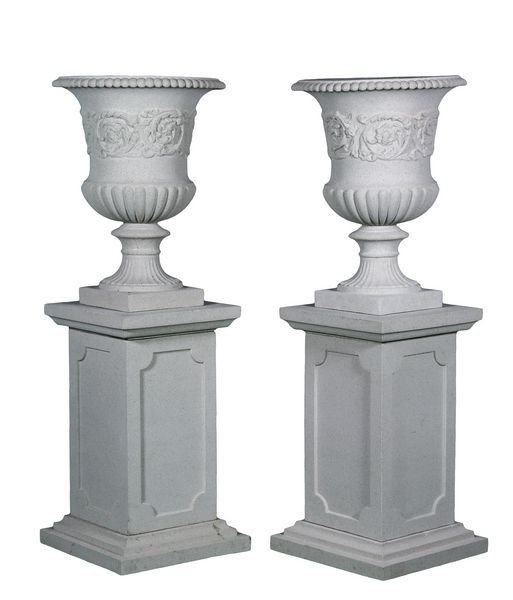 8074: Pair of Dry Cast Limestone Urns and Pedestals
