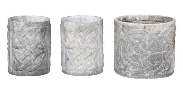 8075: Three (3) English Lead Celtic Planters