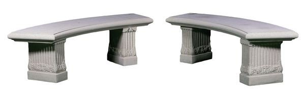 8077: Pair of Dry Cast Limestone Benches