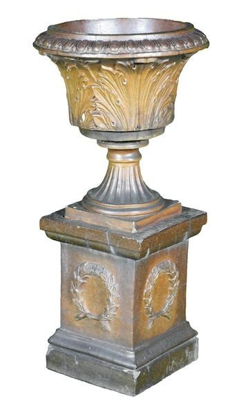 8079: 19th C. Glazed Stoneware Urn and Pedestal