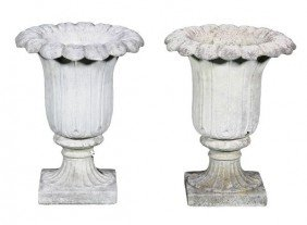 English Dry Cast Sandstone Urns