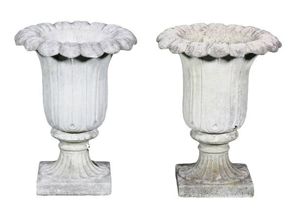 8080: English Dry Cast Sandstone Urns