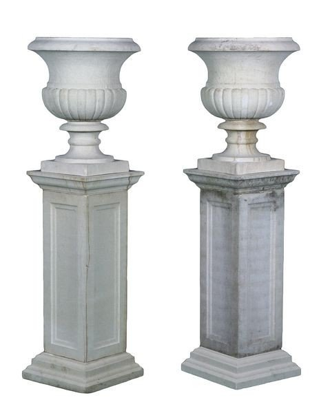 8081: Pair of English Dry Cast Limestone Urns