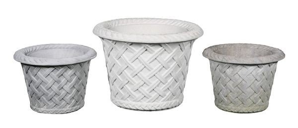 8086: Three (3) Dry Cast Limestone Basket Planters