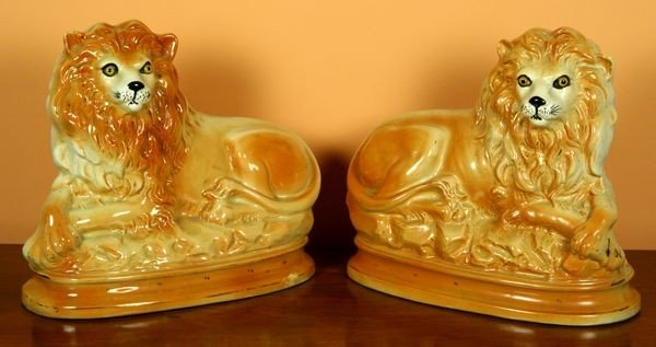 1012: Pair of 19th C. Staffordshire Tigers