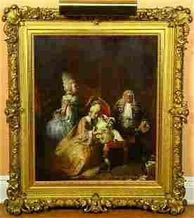 1080: 19th C. Oil on Canvas Attr. To Hogarth