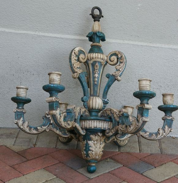 2011: C. 1900 Italian Carved Wood Chandelier