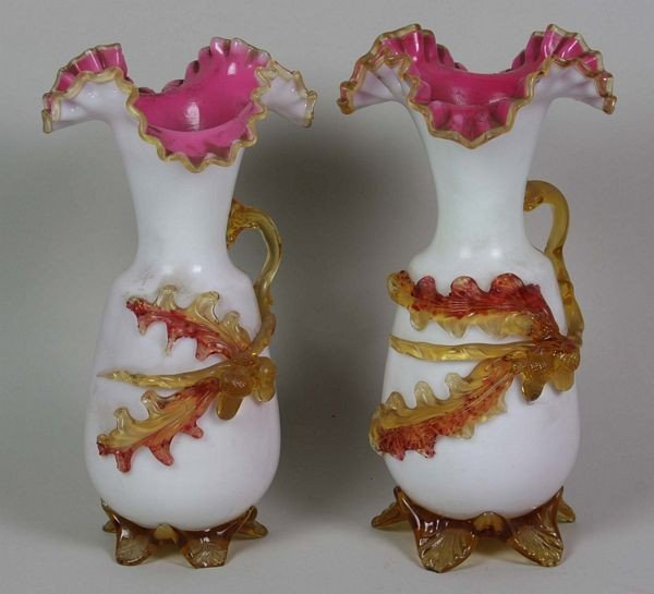 4018: Pair of English Victorian Glass Vases