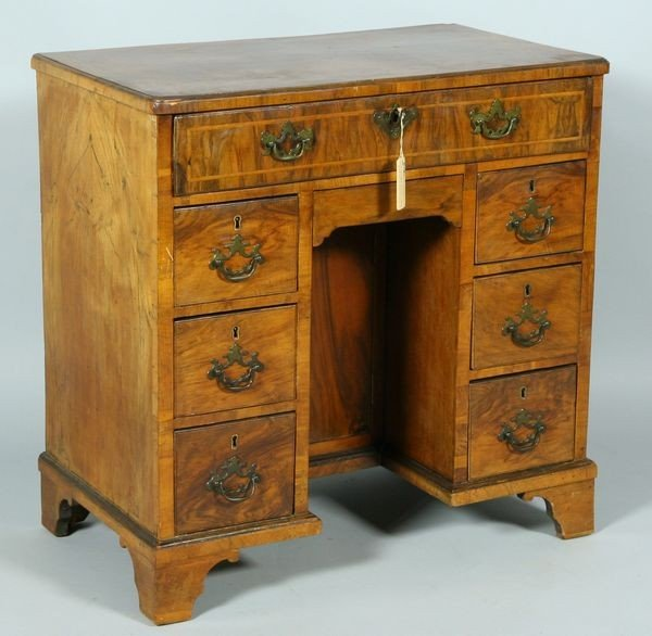 6020: Late 19th Century English Walnut Knee Hole Desk
