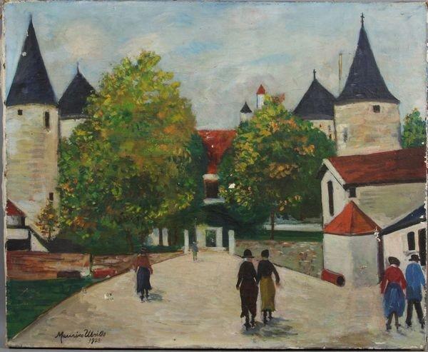 6021: Maurice Utrillo, Continental Street Scene, o/c