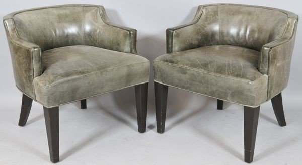 6018: Pair of English Style Leather Armchairs