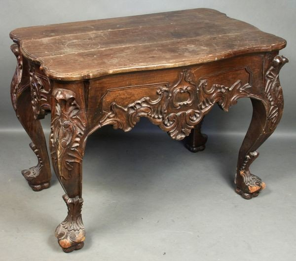 7008: 19/20th C. Continental-style Carved Parlor Table