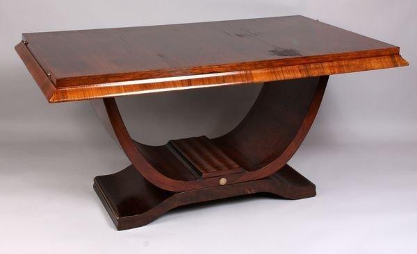 """7015: Art Deco Mahogany Dining Table, 62""""w."""