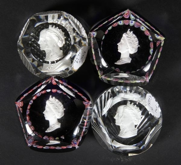 7021: 4 Sulphide Paperweights
