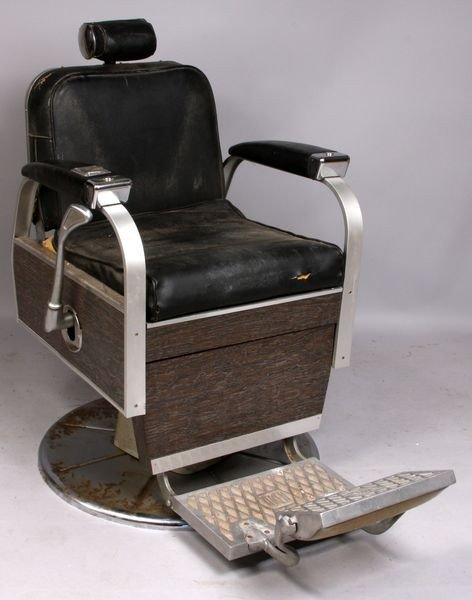 7064: Koken Deco Chrome & Leather Barber's Chair