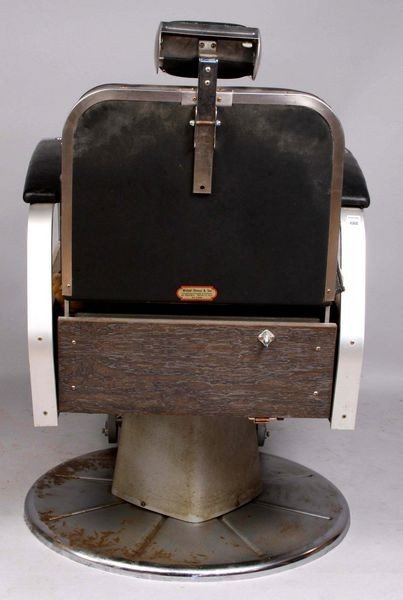 7064: Koken Deco Chrome & Leather Barber's Chair - 2
